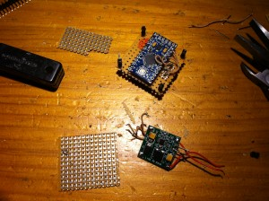 Second prototype assembling. Arduino Up, DC-DC down.