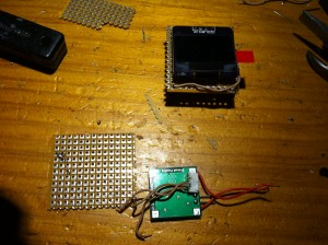 OLED Display up, GPS Conector (glued to DC-DC) down.