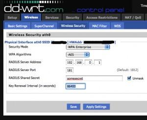 DDWRT Radius Configuration
